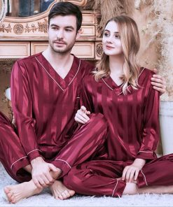 Long sleeve couple sleepwear for Girlfriend and Boyfriend