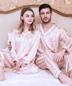Long sleeve couple sleepwear for Girlfriend and Boyfriend